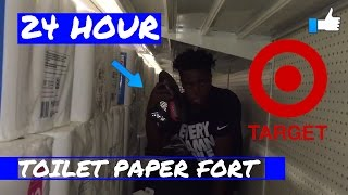 24 HOUR OVERNIGHT TARGET CHALLENGE HUGE TOILET PAPER FORT !!!