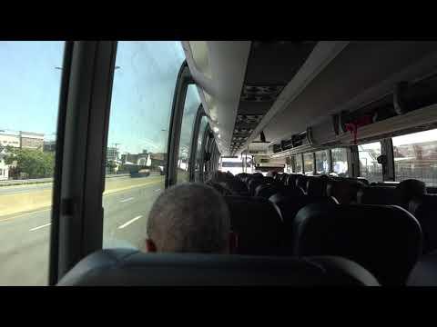 ON BOARD GREYHOUND PREVOST X3 BUS 86665 ENTERING BOSTON MA