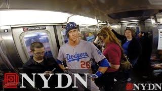 Chase Utley cardboard cutout rides NYC subway to Citi Field