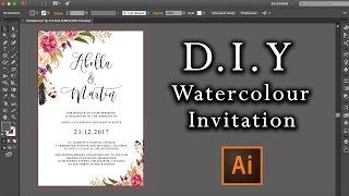 DIY Watercolour Flower Invitation tutorial | How to make professional invitations using Illustrator