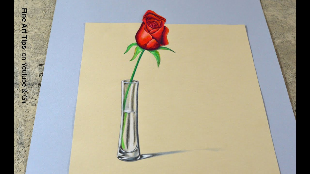 The secret technique for 3d drawings how to draw an anamorphic rose in 3d