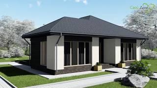 Проект небольшого одноэтажного дома Цезарь B-031 на две спальни, с террасой