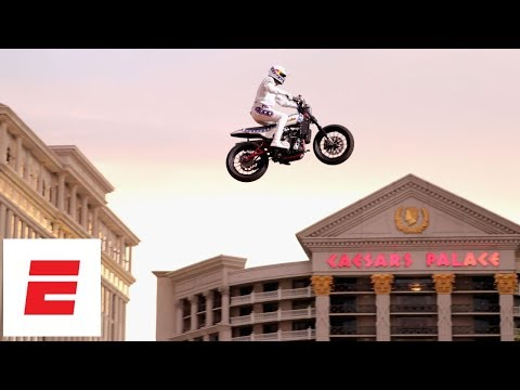 Travis Pastrana honors Evel Knievel by jumping Caesars Palace fountain in L