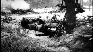 German Infantry in areas of Pripet Marshes, fire mortars. German Stuka dive bombe...HD Stock Footage