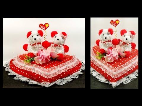 DIY Valentine's day gift   Teddy on heart Showpiece