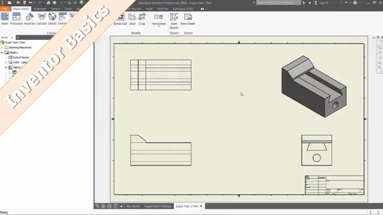 Inventor 101 Detail Part Drawings From 3d Cad Youtube