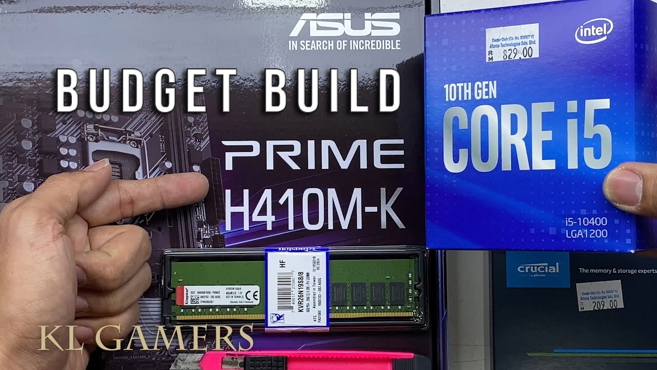 intel core i5 10400 ASUS PRIME H410M-K Kingston DDR4 RAM Crucial BX500 Budget Office PC Build - YouTube