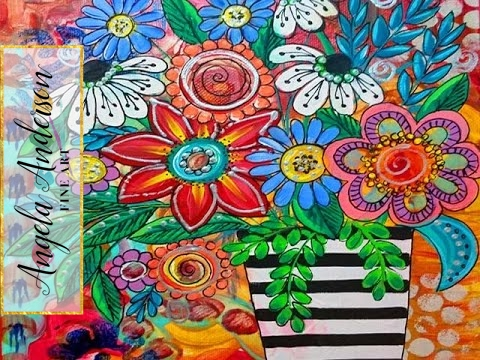Boho Flower Vase Acrylic Painting Art Exchange Part 2 Ayala Art