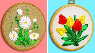 25 LOVELY RIBBON EMBROIDERY IDEAS