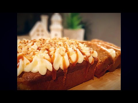 Banana Walnut Loaf topped with butter cream and caramel syrup - Mouth watering dessert recipe