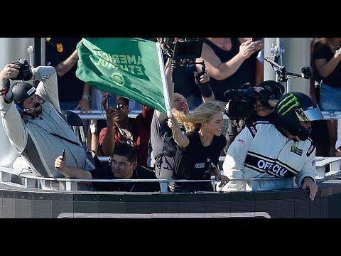 Watch Charlize Theron wave the green flag at Daytona