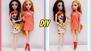 DIY how to make clothes for dolls /Cách May váy đầm đơn giản cho búp bê / Ami DIY
