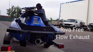 Yamaha GP1800 Riva Free Flow vs Rear Exhaust and Waterbox by PWCMuscle.com
