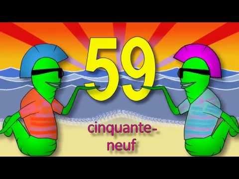 Les chiffres et les nombres de 50 à 70  alain le lait French numbers