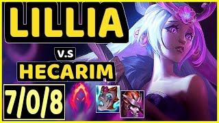 ANDA (LILLIA) vs HECARIM - 7/0/8 KDA JUNGLE GAMEPLAY - NA Ranked GRANDMASTER