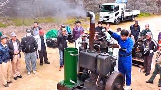 大型焼玉エンジンのスタート!!カナミツ25馬力 始動風景 戦艦空母の錨(いかり)を揚げるために作られた大型エンジンの可能性あり!!