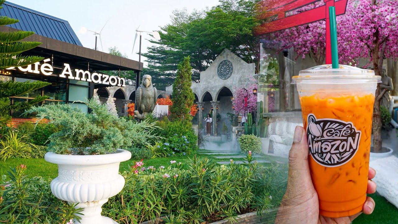 Thai Milk Tea At Most Beautiful Cafe Amazon in Thailand | Just Drink Cafe Amazon - Thai Milk Tea