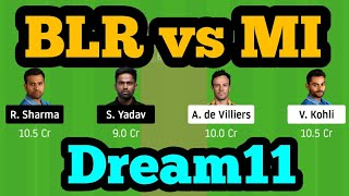 BLR vs MI Dream11| BLR vs MI | BLR vs MI Dream11 Team|RCB vs MI Dream11|