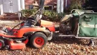 Vac'ing leaves with Cyclone Rake and Zero Turn Mower Kubota ZG222