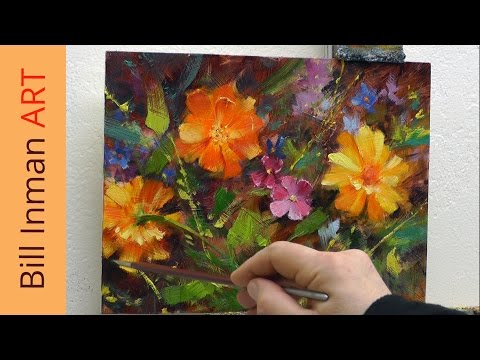 How to Paint Daisies, Wildflowers & Marigolds Part 1 Art Class Demo