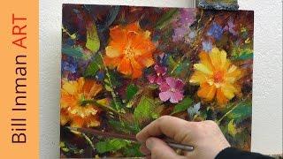 Art Class Oil Painting Demo Daisies, Wildflowers & Marigolds Part 1 - Muncie, Indiana