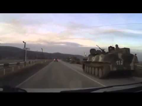 Hundreds of Russian army vehicles driving in Krasnodar's town of Psebaj go north