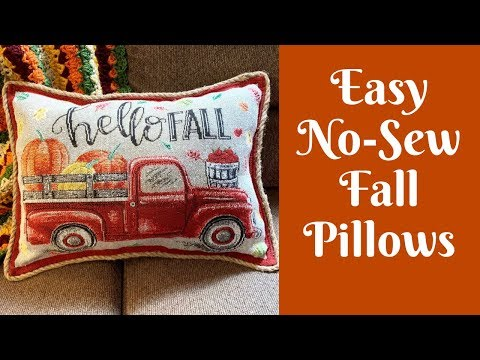 Fall Crafts: Easy No Sew Fall Throw Pillows