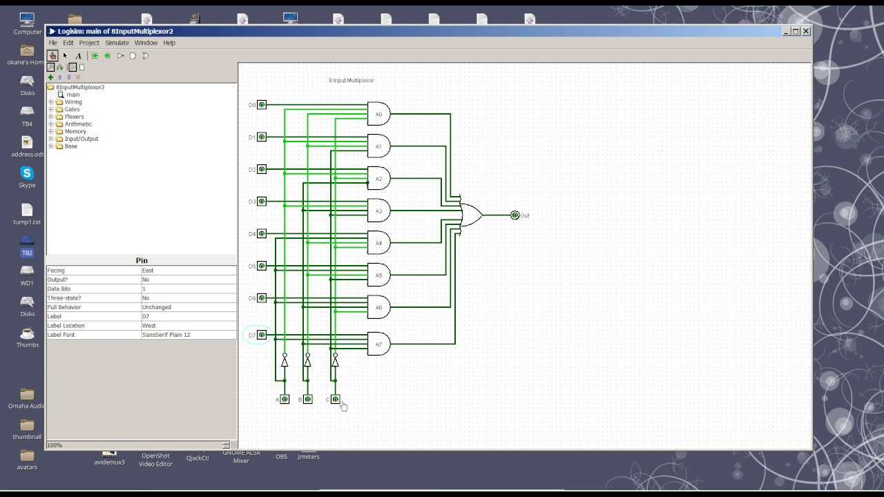 8 to 1 multiplexer circuit [ 1280 x 720 Pixel ]