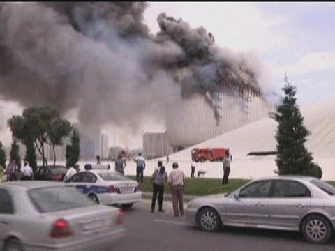 Huge fire engulfs Azerbaijan's landmark building, the Heydar Aliyev Cultural Centre