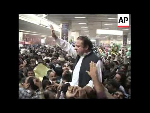 Former Prime Minister Nawaz Sharif arrives in Pakistan ADDS shots