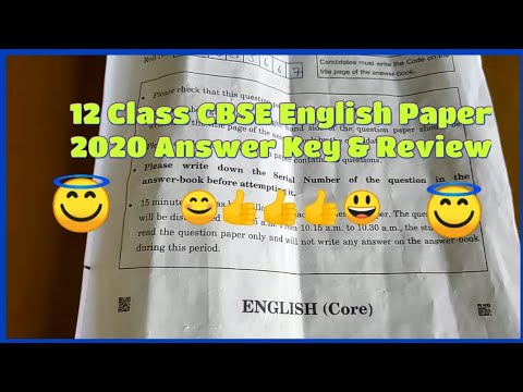 English Paper 12 Class CBSE 2020 Answer Key Solution And Review