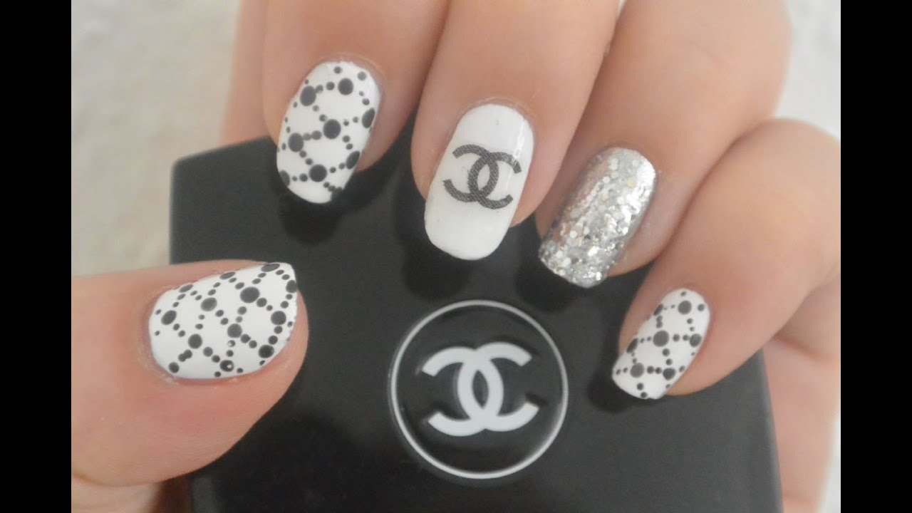 Chanel inspired nail art design