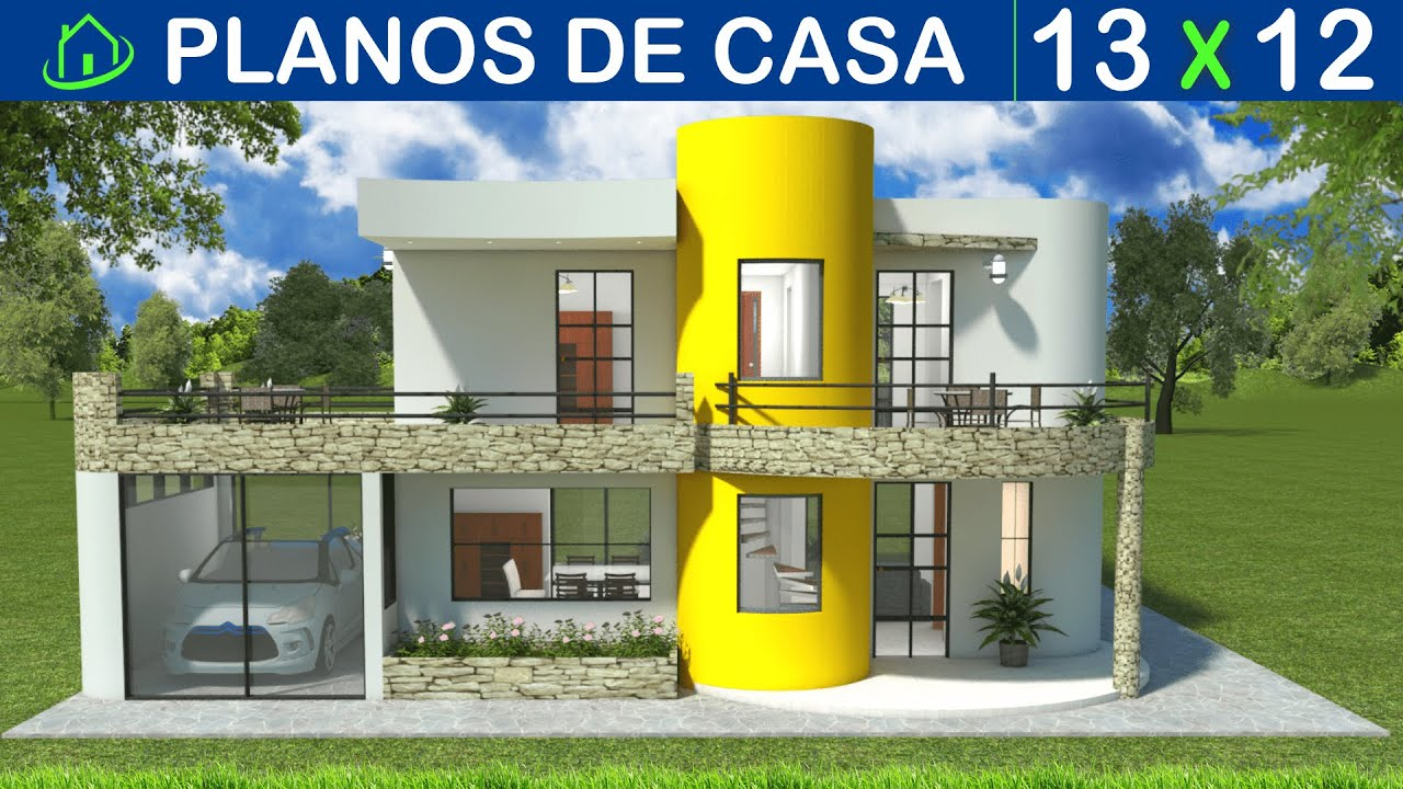 Dise os planos de una casa moderna de dos pisos con garaje for Fachadas de casas modernas en honduras