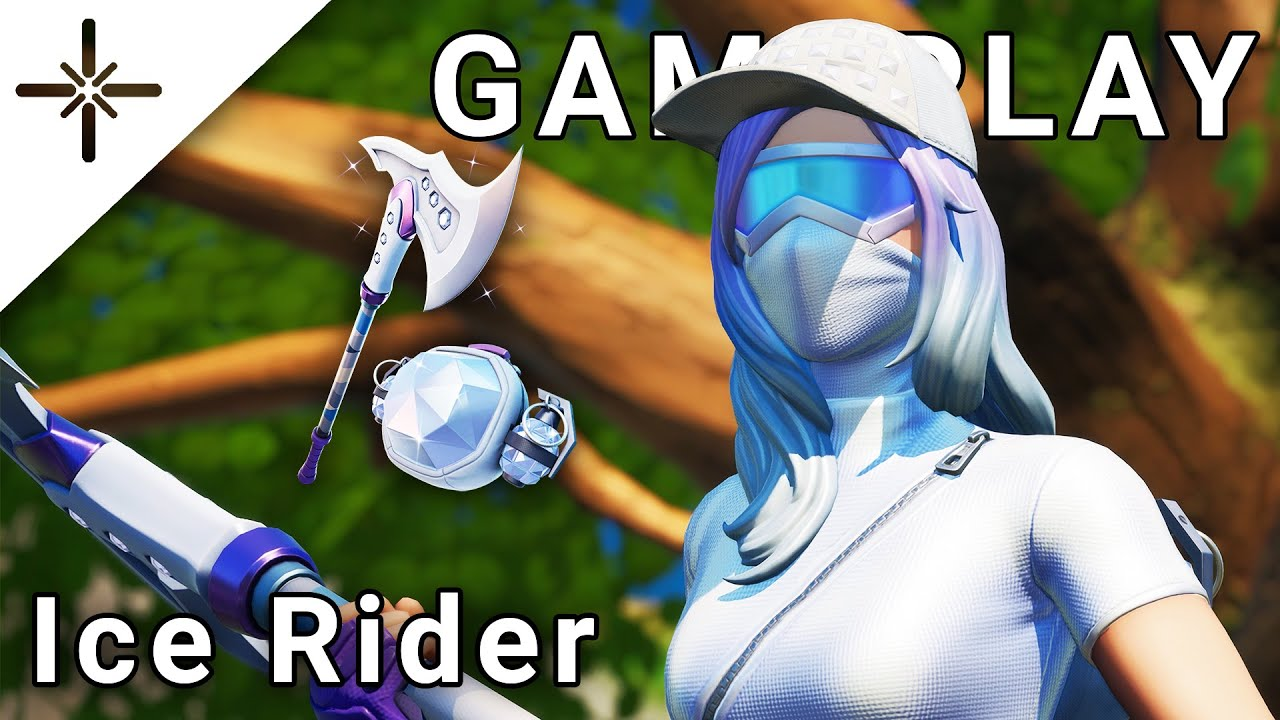 """LEAKED """"Ice Rider"""" Fortnite Skin Gameplay (NEW Outfit with """"6-Carat Cutter"""" Pickaxe and Back Bling!)"""