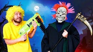 Видео игры в Хэллоуин – Кто пришёл в Гости к Нерферам? – Смешное видео с бластером Нерф.