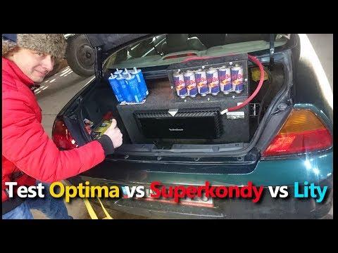 Test wydajności Optima vs Superkondensator vs Lity#lithium tytanium LTO#rockford t2500