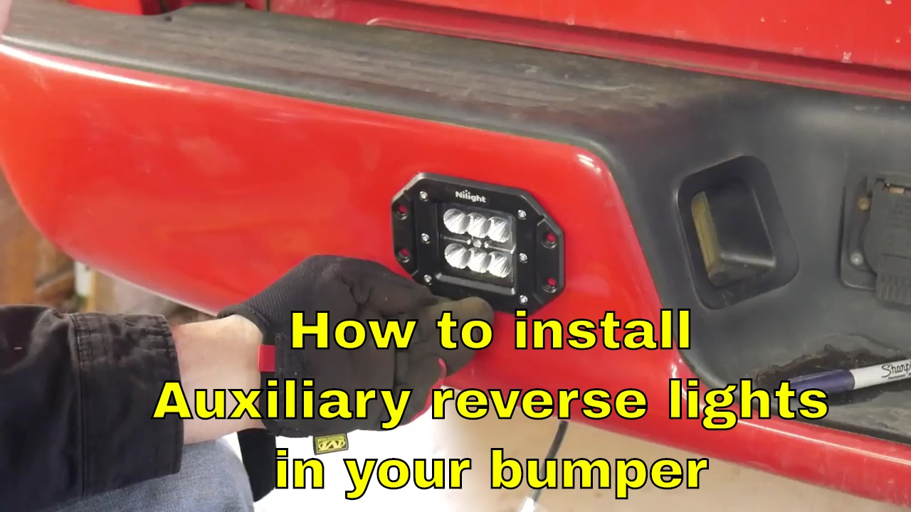 How To Install Auxiliary Reverse Lights In A Bumper Youtube 50 Inch Led Light Bar Wiring Harness Free Download