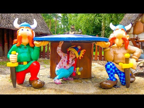 Видео, Настя в СУПЕР парке развлечений Funny Kid in the Amusement park Entertainment for kids