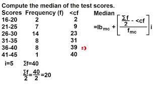 median  for grouped data (ascending order)