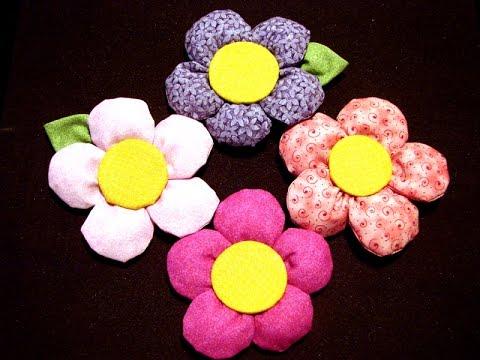 Como hacer flores de cinta y tela programa 2 flor gordita 5 5 youtube - Flores de telas hechas a mano ...