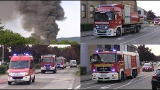 Großbrand in Ladenburg am 19.07.2017 - Vollbrand einer Lagerhalle | EINSATZFAHRTEN-