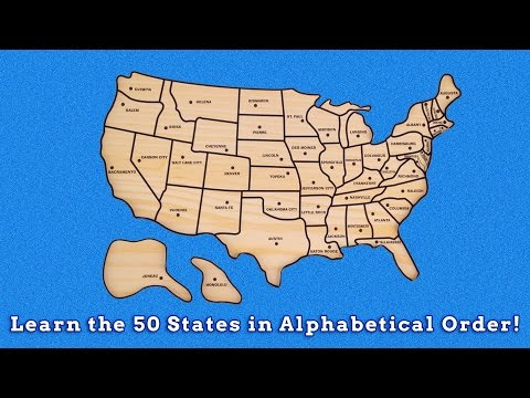 Learn the 50 United States in Alphabetical Order Learn Geography United States Puzzle