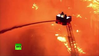 Крупный пожар полностью уничтожил строящееся здание в Северной Каролине