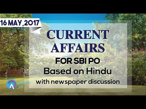 एसबीआई पीओ के लिए दि हिन्दू आधारित करंट अफेयर्स (16 मई2017)