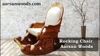 Aarsun Handcrafted Wooden Royal Rocking Chair | Easy Chair | Grandpa Chair