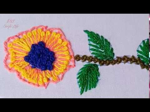 Hand Embroidery #226:Beautiful and simple embroidered flowers.