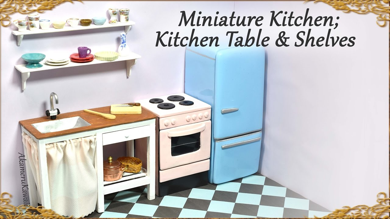 Miniature Doll Kitchen Table W Sink Amp Shelves Wood