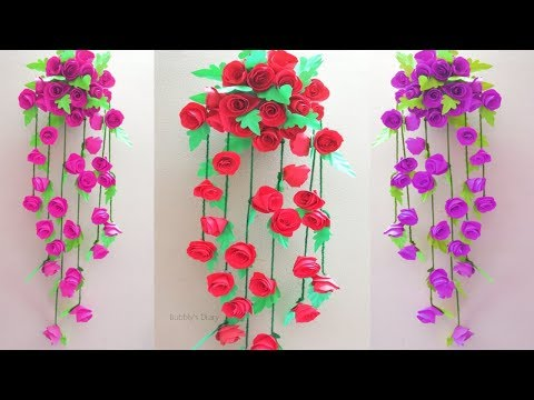 Paper Flower Wall Hanging Decoration - Home Decorating Ideas - Paper Craft Wall Decoration Easy