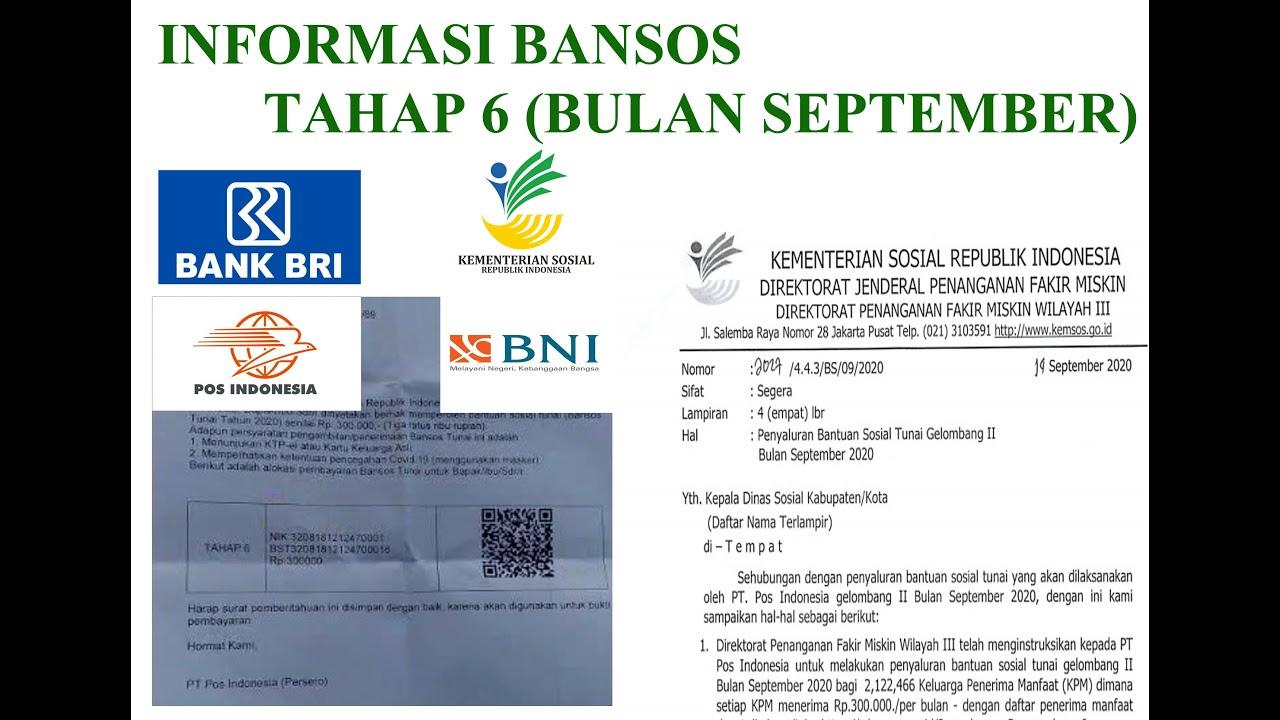 Informasi Bantuan Sosial Tahap 6 Bulan September Kantor Pos Bank Bni Dan Bri Tahun 2020 Tksk Sigi Youtube
