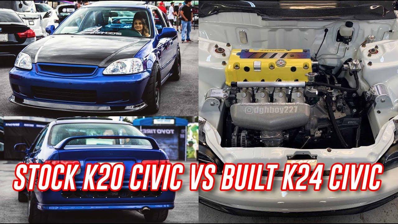 Built 300HP All Motor Civic EG VS Stock K20z1 Civic EM1